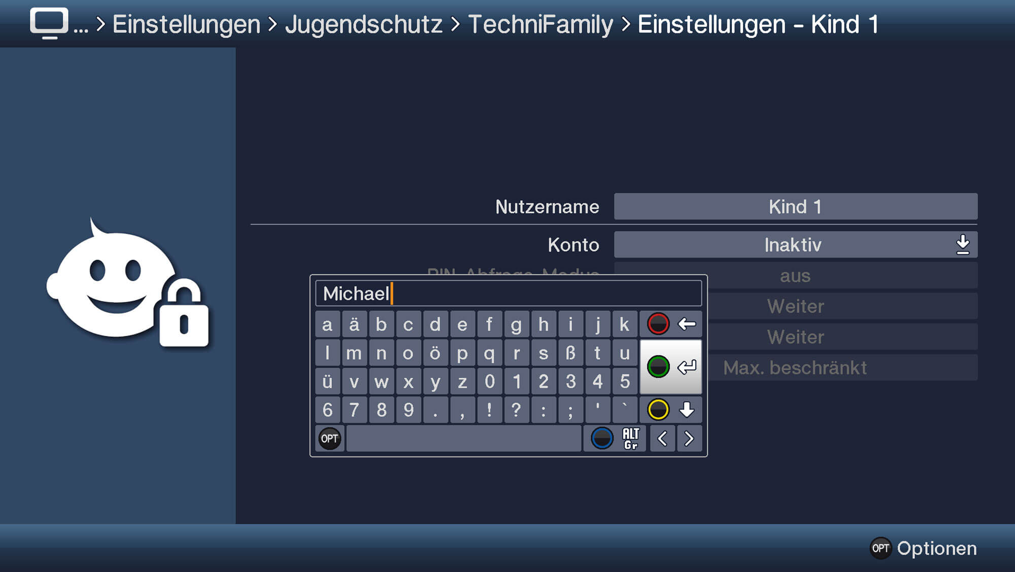 Screen: Erstellung Nutzerprofil TechniFamily